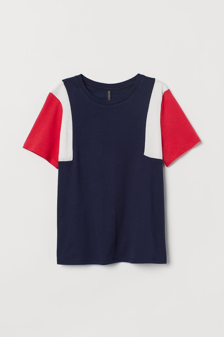 Cotton T-shirt - Dark blue/Block-coloured -  | H&M CN