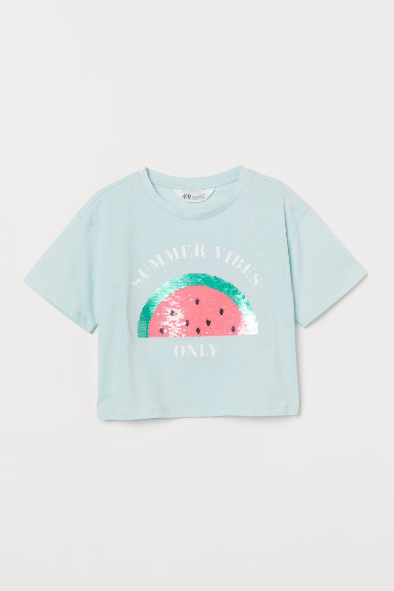 Top with sequins - Turquoise/Summer Vibes - Kids | H&M