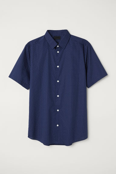 Poplin shirt Slim fit - Dark blue/White spotted - Men | H&M