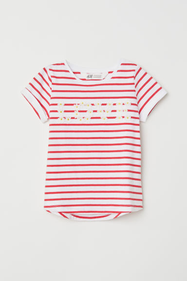 Short-sleeved top - White striped/Love - Kids | H&M CN