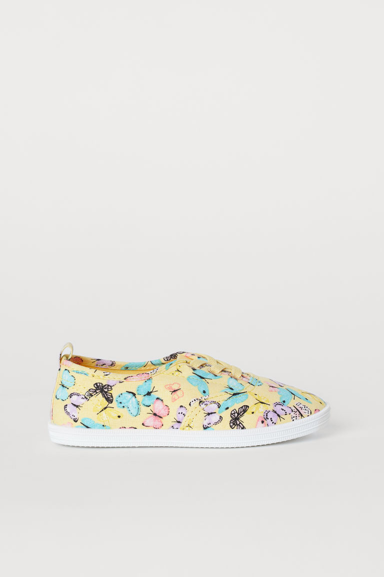 Cotton trainers - Light yellow/Butterflies - Kids | H&M CN