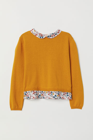 Knitted jumper - Yellow/Floral - Kids | H&M CN