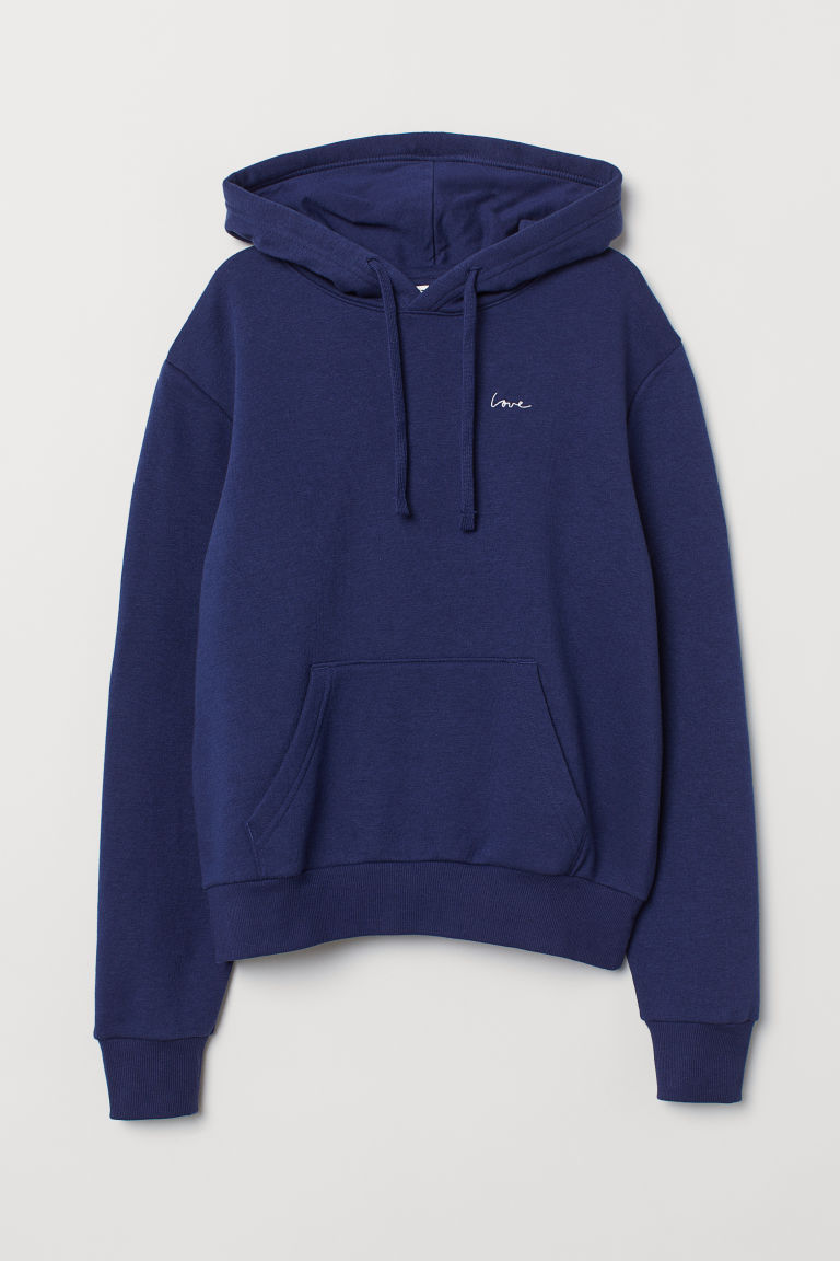 Hooded top with a motif - Blue -  | H&M