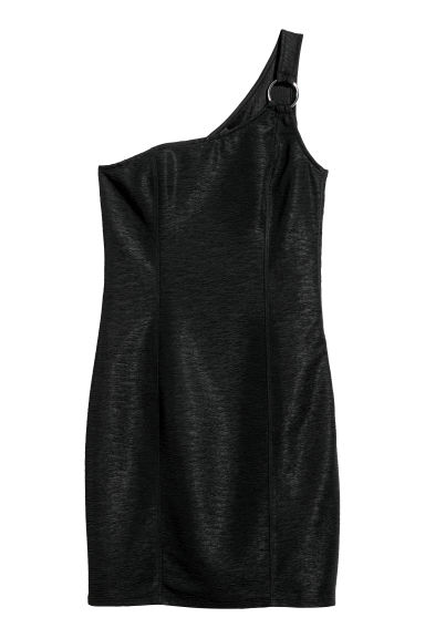 One-shoulder dress - Black -  | H&M