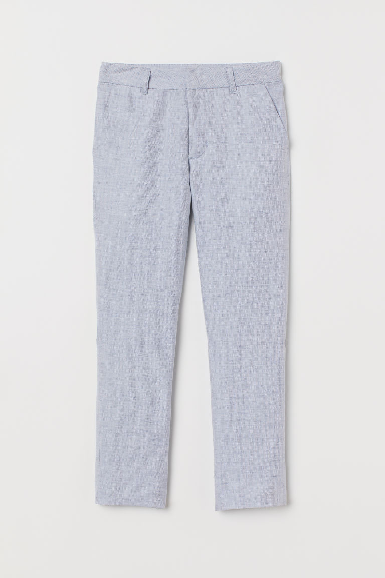 Linen-blend suit trousers - Light blue - Kids | H&M CN