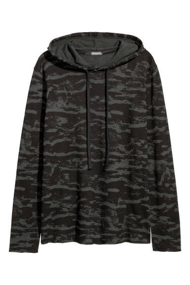 Waffled jersey hooded top - Black/Patterned -  | H&M