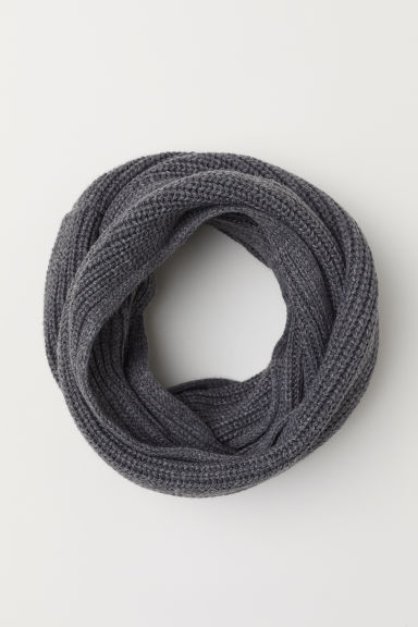 Ribbed tube scarf - Dark grey -  | H&M