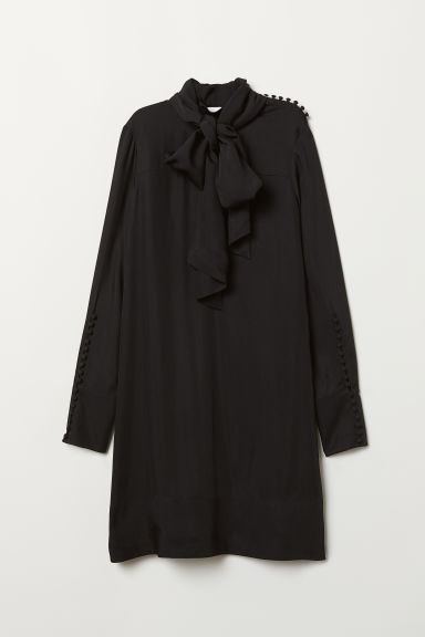 Dress with ties - Black -  | H&M CN