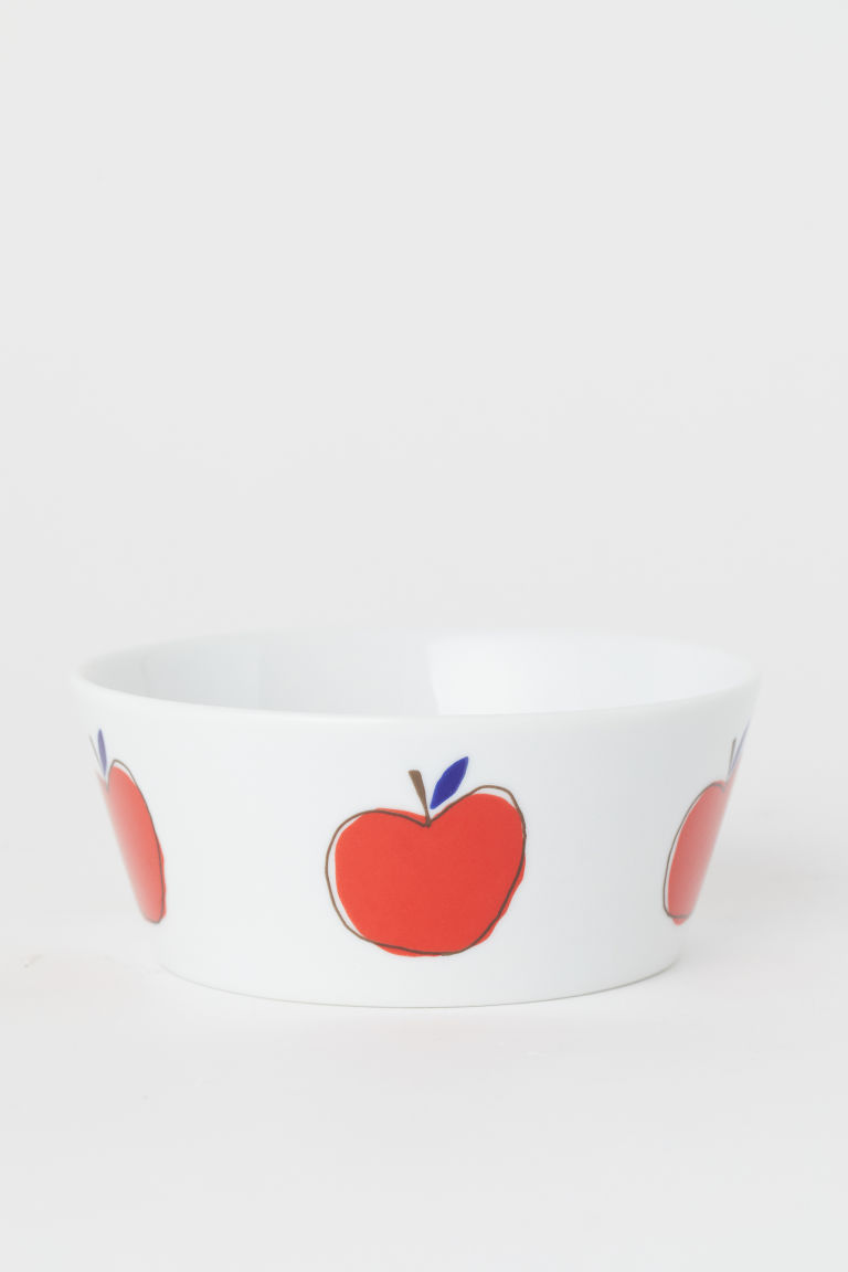Bol en porcelaine - Blanc/pomme - Home All | H&M FR