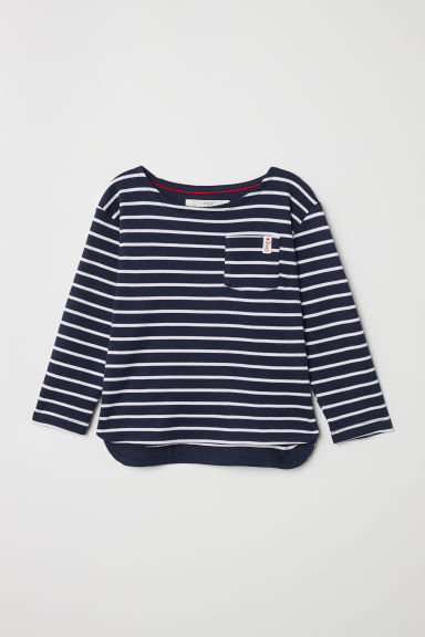 Striped jersey top - Dark blue/Striped - Kids | H&M