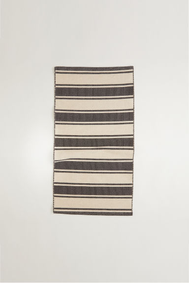 Jacquard-weave cotton rug - Anthracite grey/Beige - Home All | H&M CN
