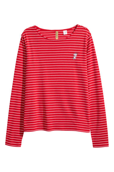 Long-sleeved jersey top - Red striped/Snoopy -  | H&M CN