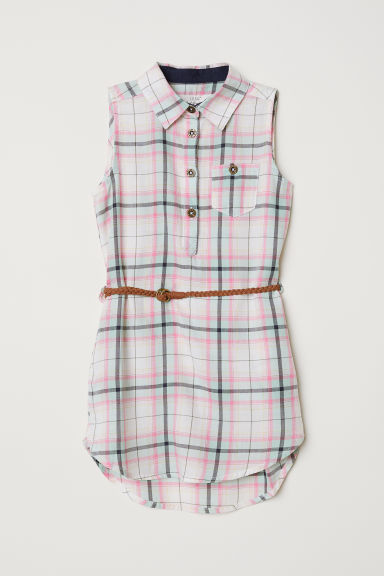 Shirt dress with a belt - White/Pink checked - Kids | H&M