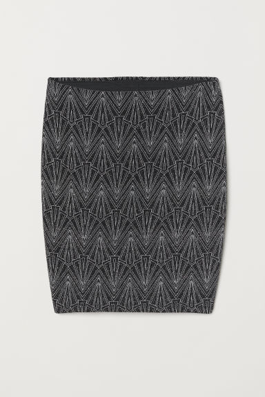 Glittery skirt - Black/Silver-coloured -  | H&M CN