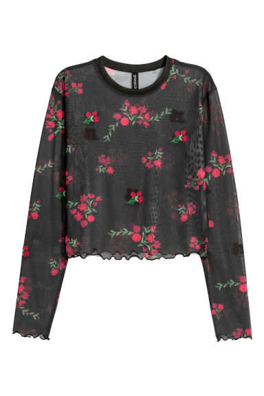 Short mesh top - Black/Red floral - Ladies | H&M