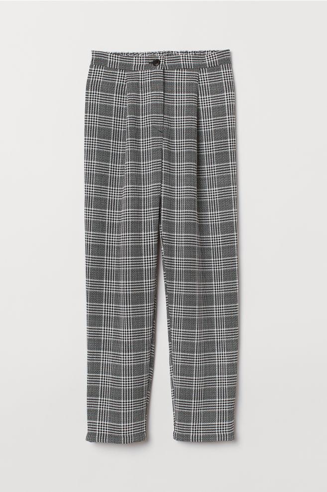b845c73c34 Wide-leg Pants - White/black plaid - | H&M ...