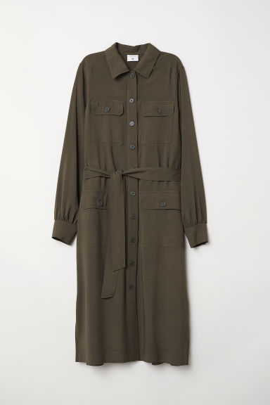 Long shirt dress - Dark khaki green - Ladies | H&M CN