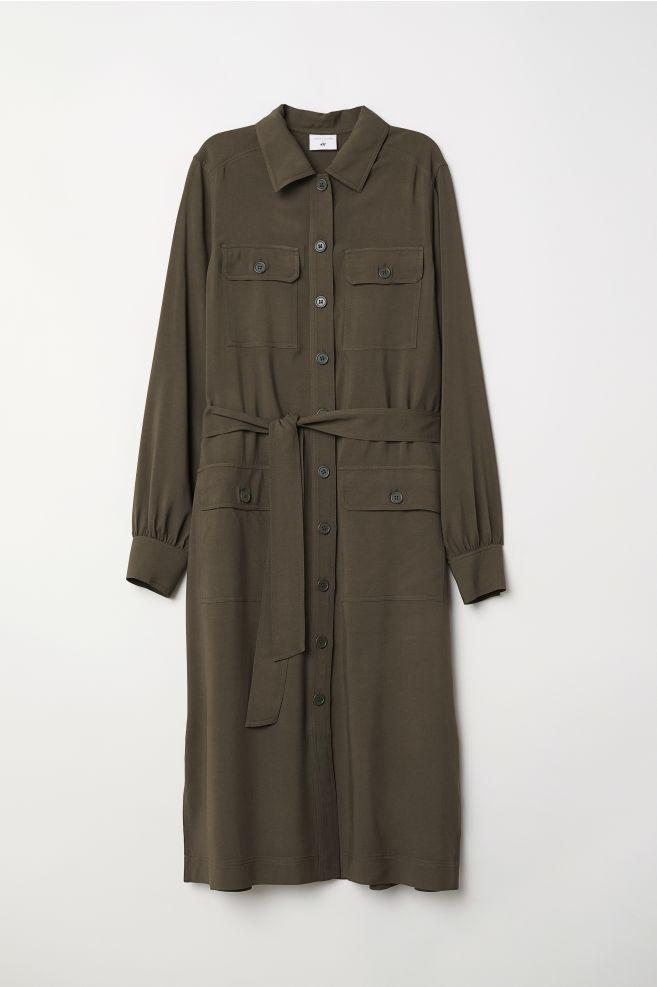 af04388c6b Long Shirt Dress - Dark khaki green - Ladies   H&M ...