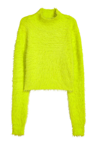 Cropped turtleneck jumper - Neon yellow - Ladies | H&M