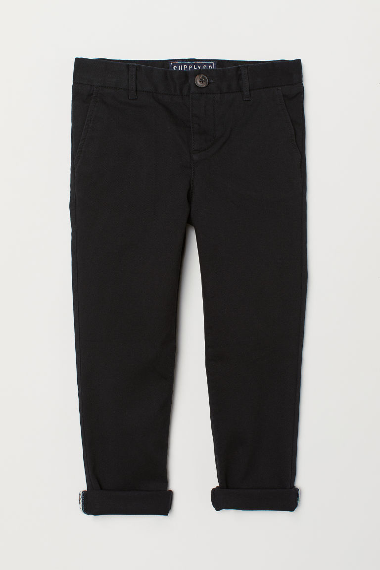 Cotton chinos - Black/Corduroy - Kids | H&M