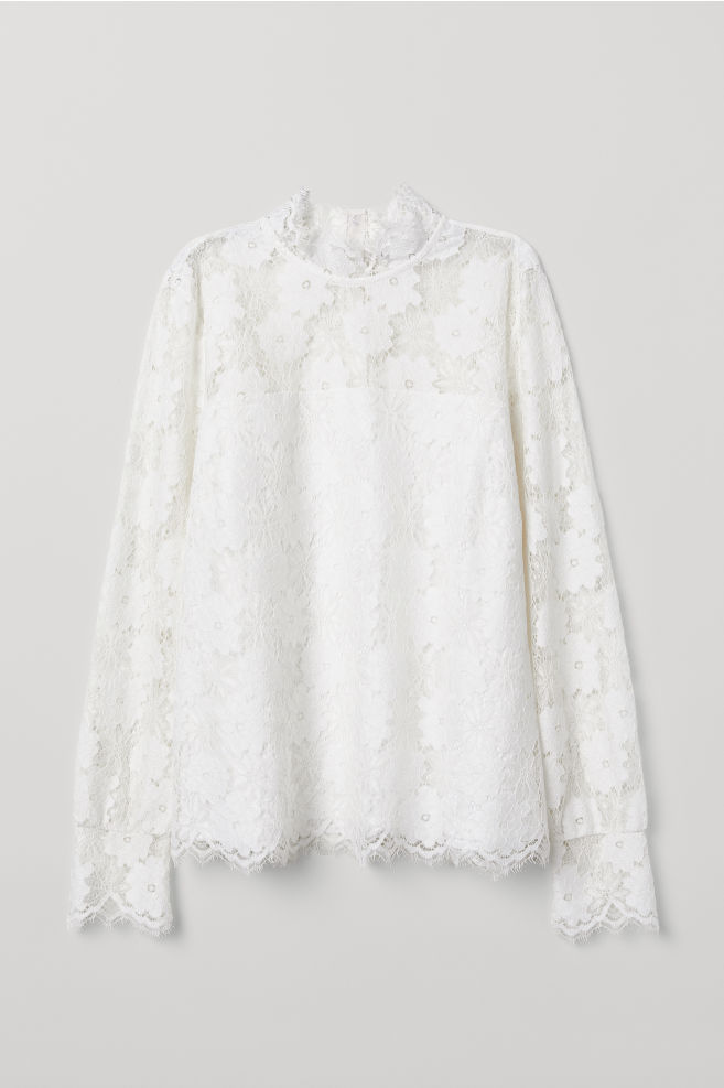 c315df2a293f Long-sleeved lace top - White - Ladies | H&M ...