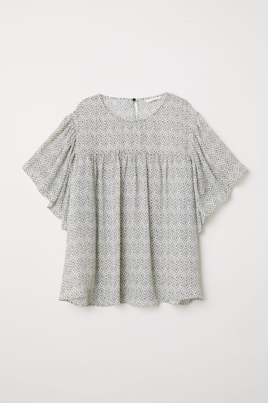Flounce-sleeved blouse - Natural white/Patterned - Ladies | H&M