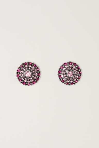 Round sparkly earrings - Magenta - Ladies | H&M