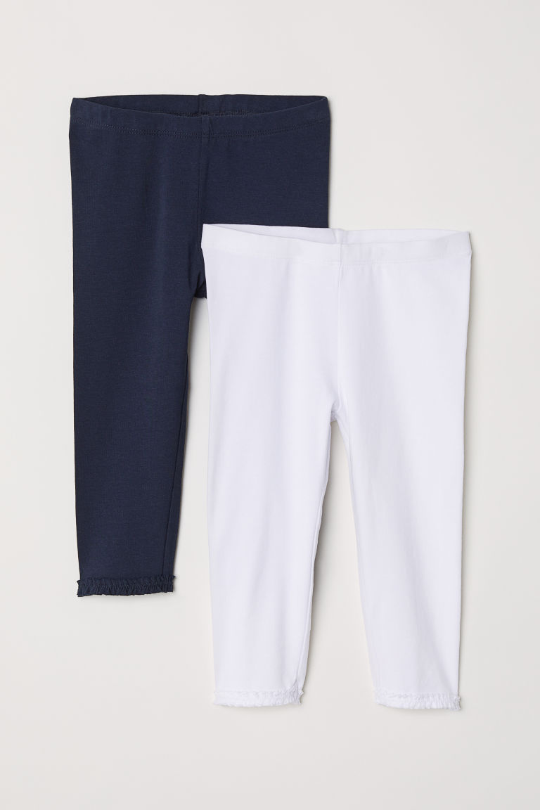 2-pack 3/4-length leggings - White/Dark blue - Kids | H&M CN