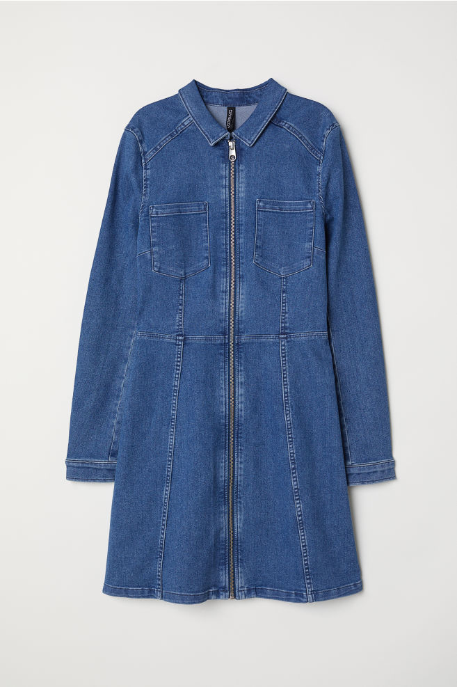d5f324928f Fitted Shirt Dress - Denim blue -