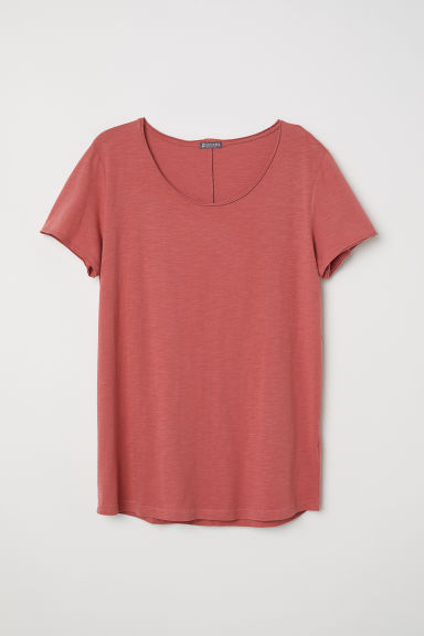 Raw-edge T-shirt - Light red - Men | H&M CN