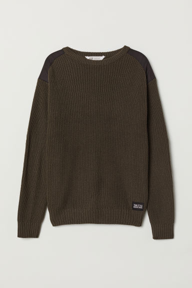 Ribbed jumper - Dark khaki green - Kids | H&M