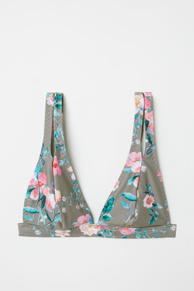 Triangle bikini top - Khaki green/Floral -  | H&M CN