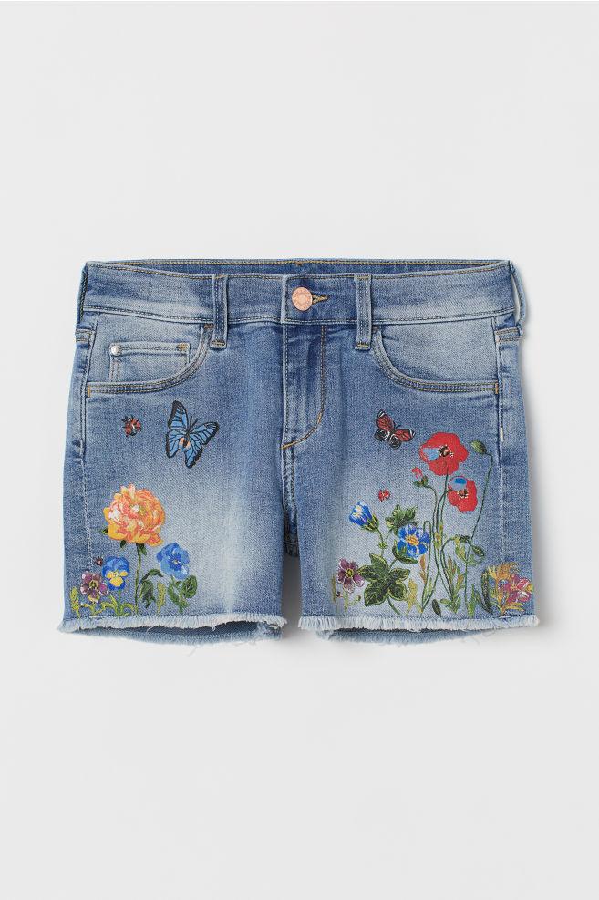 8a0c1e784ab8d ... Printed Denim Shorts - Light denim blue/flowers - Kids | H&M ...