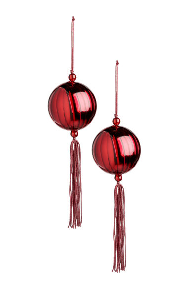 Set van 2 kerstballen - Donkerrood - HOME | H&M BE