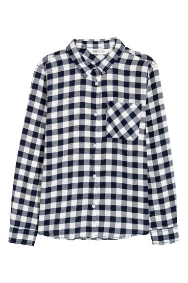 Generous Fit Cotton shirt - Dark blue/White checked - Kids | H&M CN