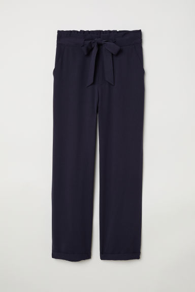 Paper bag trousers - Dark blue -  | H&M