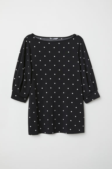 Jersey crêpe top - Black/White spotted - Ladies | H&M CN