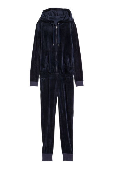 Velour jumpsuit - Dark blue - Ladies | H&M