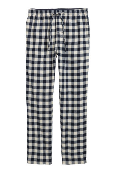 Flannel pyjama bottoms - Dark blue/White checked - Men | H&M