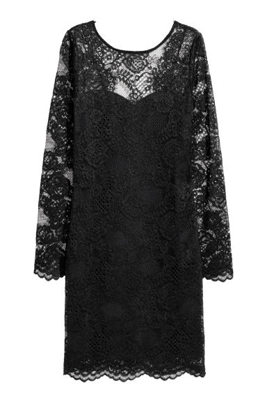 Short lace dress - Black - Ladies | H&M CN