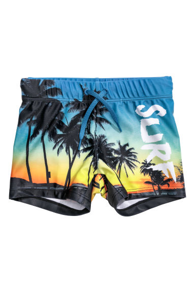 Patterned swimming trunks - Blue/Palm trees -  | H&M