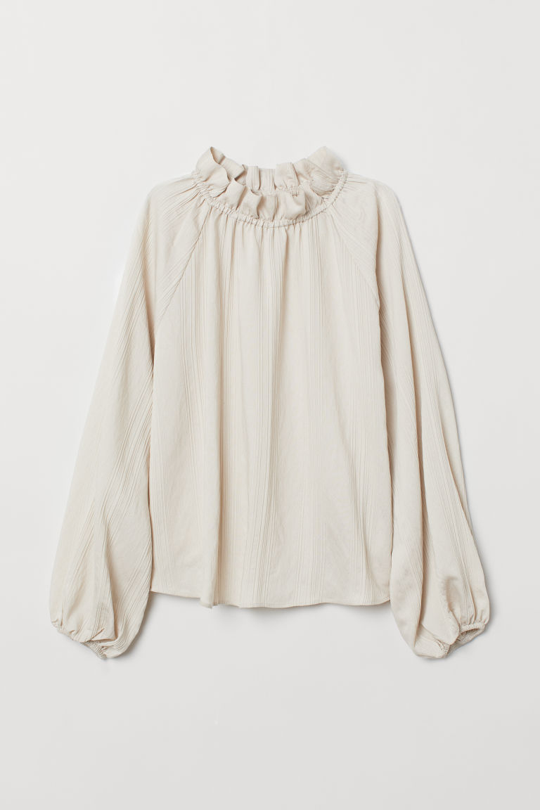 Blouse with a frilled collar - Light beige - Ladies | H&M CN