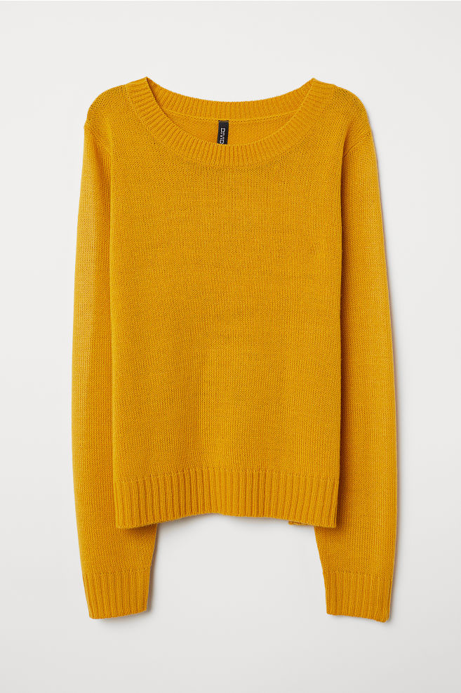 927e2a59a41 Knitted jumper - Mustard yellow - Ladies