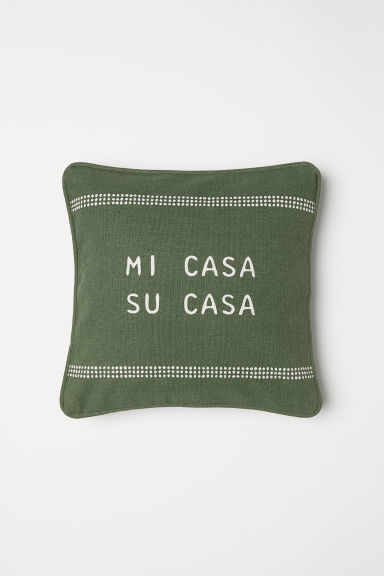 Cotton cushion cover - Moss green - Home All | H&M CN
