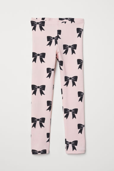 Patterned jersey leggings - Light pink/Bows - Kids | H&M IE