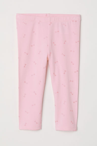 3/4-length leggings - Pink/Glittery hearts - Kids | H&M