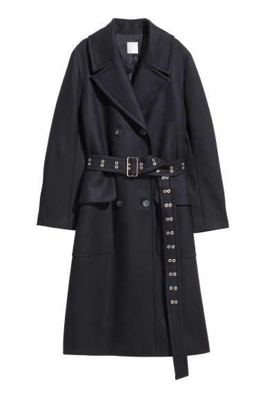 Wool-blend coat - Dark blue -  | H&M