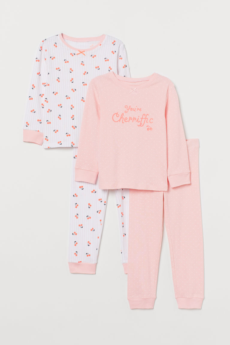 2-pack jersey pyjamas - Light pink/Cherries - Kids | H&M IE
