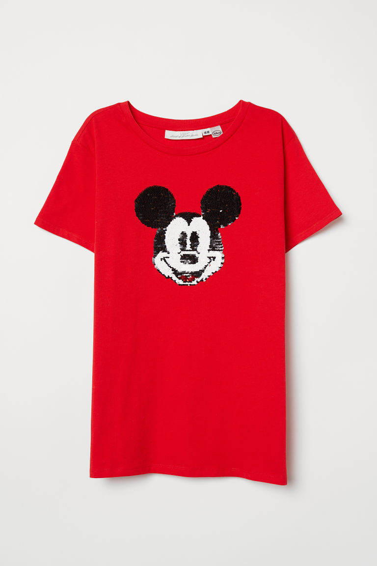T-shirt with a motif - Red/Mickey Mouse - Ladies | H&M