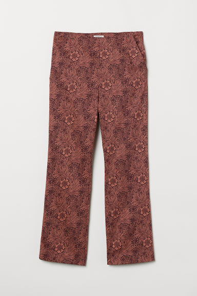 Patterned stretch trousers - Dark red/Floral - Ladies | H&M